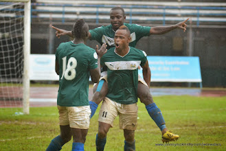 Photo: Mustapha 'Haji' Bagura celebrates scoring the Leone Stars first goal [Leone Stars Vs. Equatorial Guinea, 7 Sept 2013 (Pic: Darren McKinstry)]