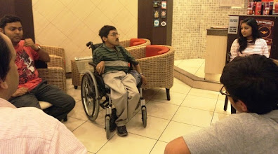 Photo: Self Advocate Den shares his experiences in CCD Kolkata, as a part of our 2012 World Disability Day Celebrations.