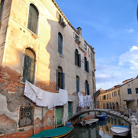 Hanging laundry by Cathleen Steele - City,  Street & Park  Historic Districts ( venice, laundry, culture, shadows, canal, quiet, travel, water, italy )