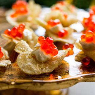 Caviar Potato Chips and Lemon Cream