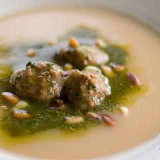 Slow Cooker Pesto Potato Soup with Meatballs.