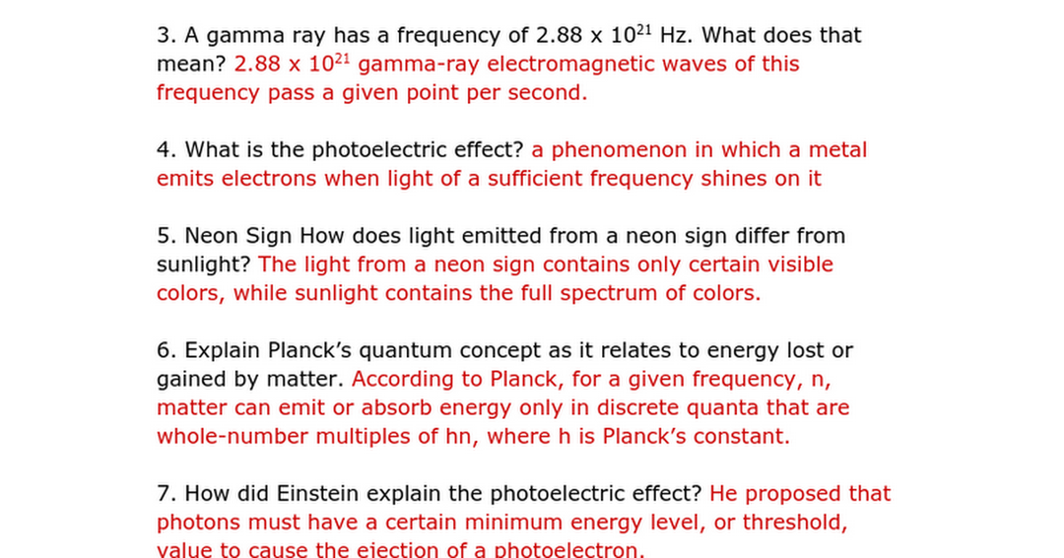 Wow More Electrons In Atoms Practice Problems Key Google