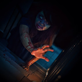 Final scream on Halloween, maybe? by Dee S. Alkhatib - Public Holidays Halloween ( scary, scream, green, edit, blood, ghost, iphone, eyes, halloween, grunge, stairs, bleed, lightroom, hair )