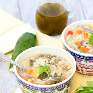 Summer Vegetable Minestrone Soup with Basil Oil