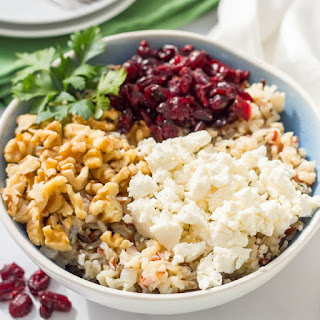 Warm Wild Rice Salad With Cranberries, Pecans And Goat Cheese.