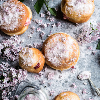 Strawberry Jelly and Vanilla Cream Brioche Doughnuts with Lilac Sugar.