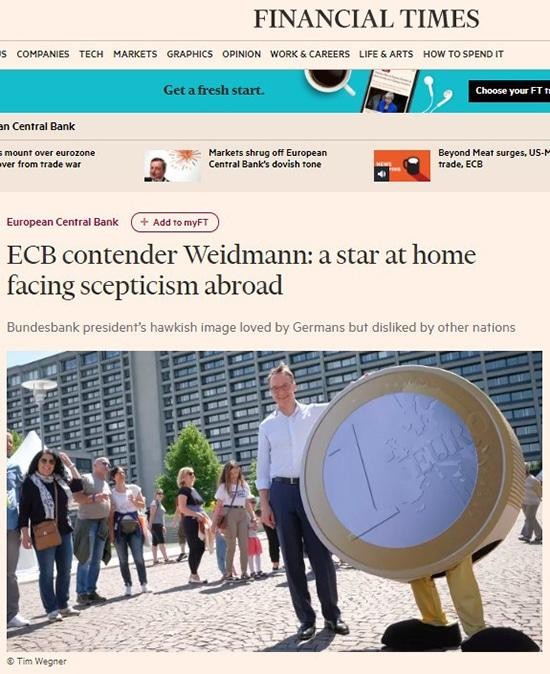 Financial Times Weidmann, candidat à la BCE : une star nationale confrontée au scepticisme à l'étranger