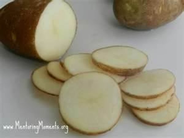 Wash and sice potatoes medium thick. No need to peel them. Place in bottom...
