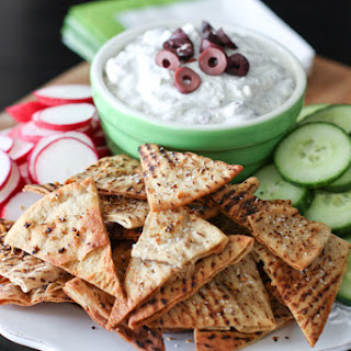 Kalamata Olive and Feta Dip with Baked Lemon Pepper Pita Chips for The Lemon Bowl