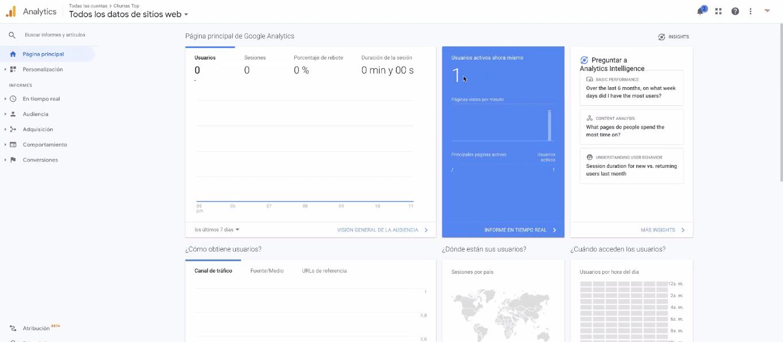 pagina inicial google analytics