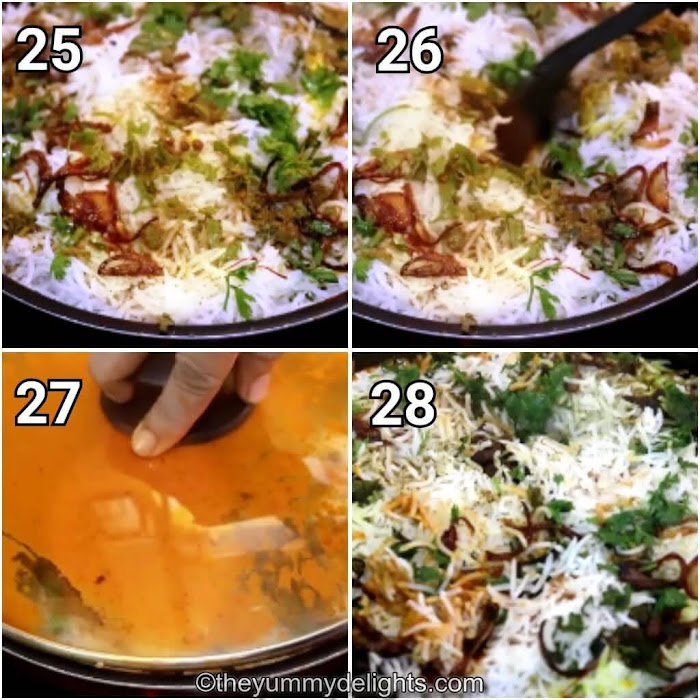 step by step image collage of layering the butter chicken biryani & dum cooking it