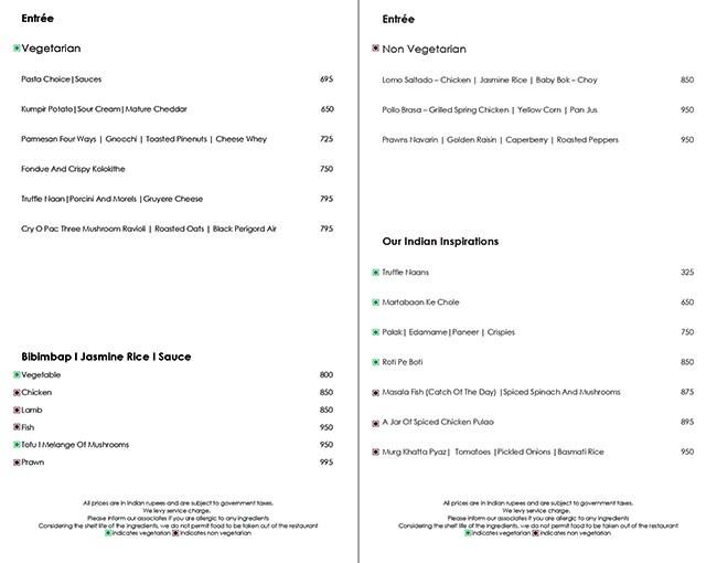 Hemant Oberoi menu 2