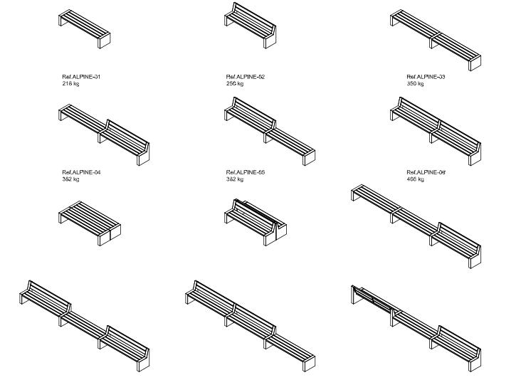 Mogelijke opstellingen met de Alpine zitbanken uit de collectie van Escofet 1886, Design straatmeubilair voor de publieke ruimte.