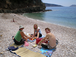 Photo: Suzanne, Emma, Ben on a Vis beach all to ourselves