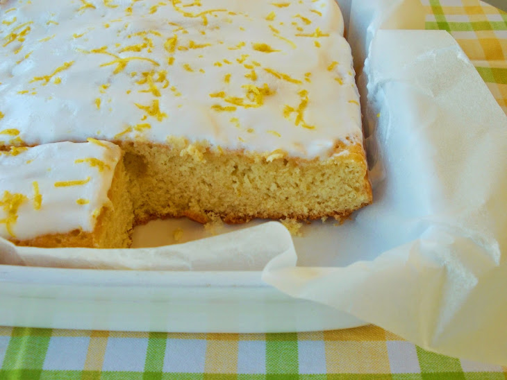 Lemon Cake with Icing Coverage of Real Recipe