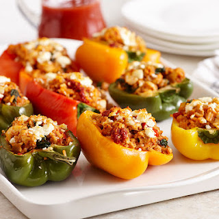 Greek Stuffed Peppers With Spinach & Artichoke.