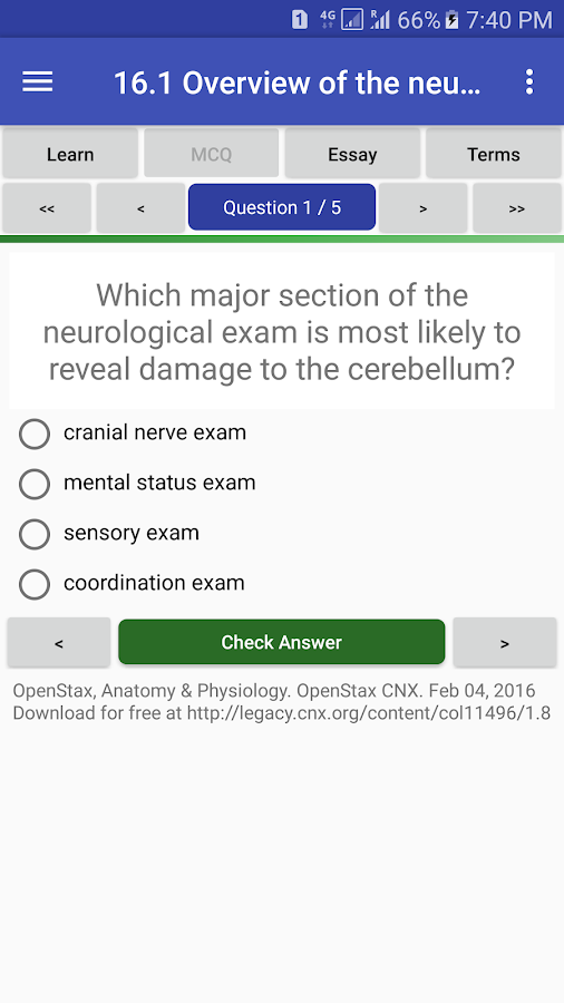 anatomy physiology textbook mcq test bank android apps on  anatomy physiology textbook mcq test bank screenshot
