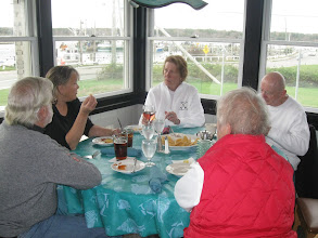 Photo: One last luncheon at a local Sandwich restaurant looking over the Cape Cod Canal. Courtenay, Joanne, Grace, Bill, and DJ.