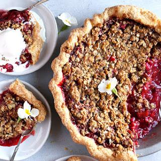 Strawberry Rhubarb Crumble Pie.
