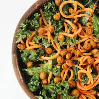 Vegan Kale and Sweet Potato Noodle Caesar Salad with Crispy Spiced Chickpeas.