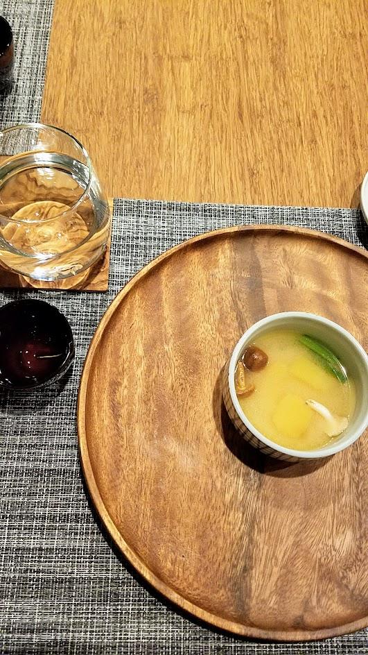 Nodoguro Princess Mononoke Sousaku Second Course: Acorn squash soup and mushroom with young Kyoto saikyo miso, Japanese turnip greens