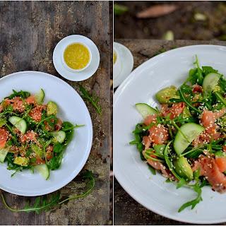 Smoked Salmon, Avocado and Arugula Salad.