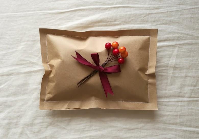 セリア クラフト紙 ミシラッピング ミシンで塗った封筒