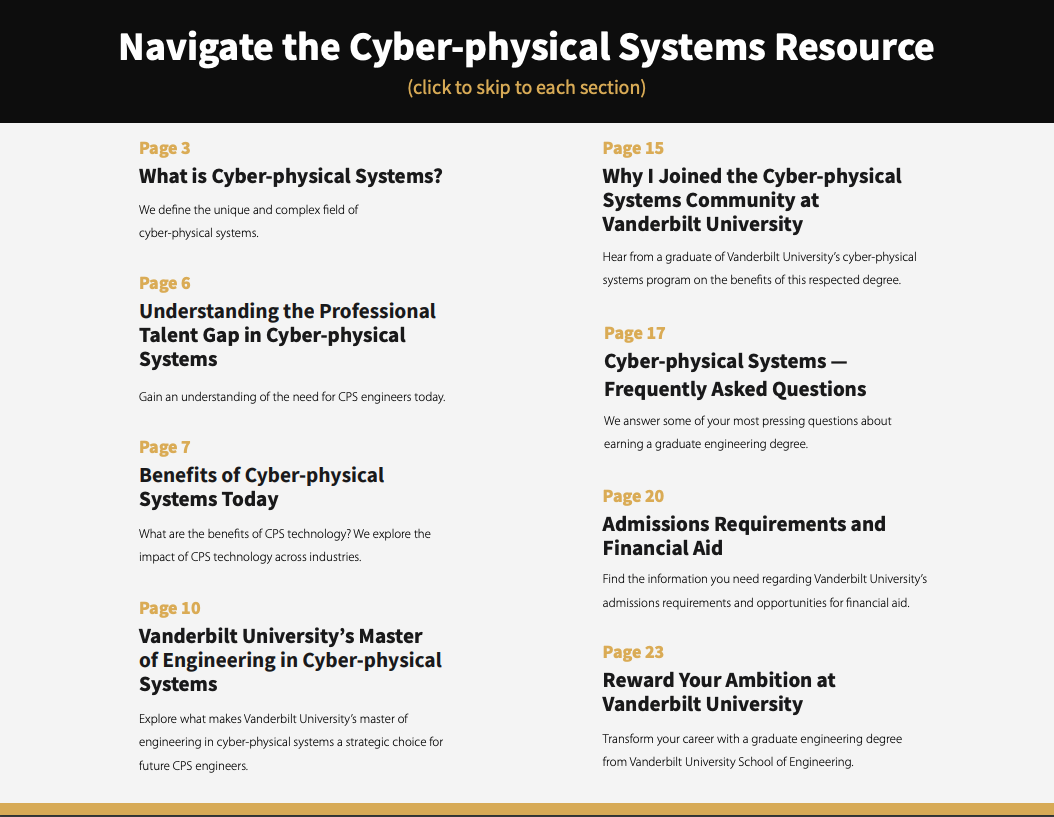You also need a table of contents that aids in navigation and solid section headers that serve as roadmaps for the eBook. Here is the table of contents page from Vanderbilt University's cyber-physical systems guide: