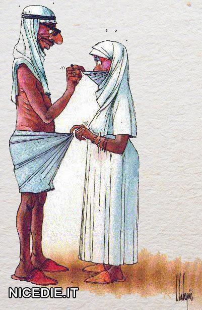 un arabo guarda sotto il velo il viso di una donna, lei invece guarda dentro le mutande