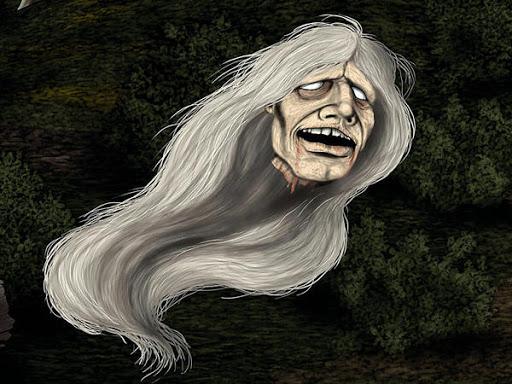 Representación de una horrible cabeza voladora