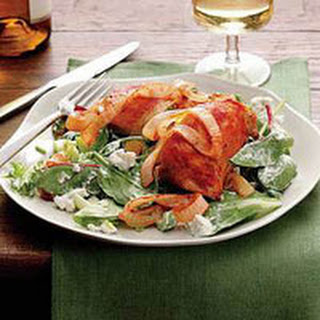 Baked Buffalo Chicken with Blue Cheese Salad.