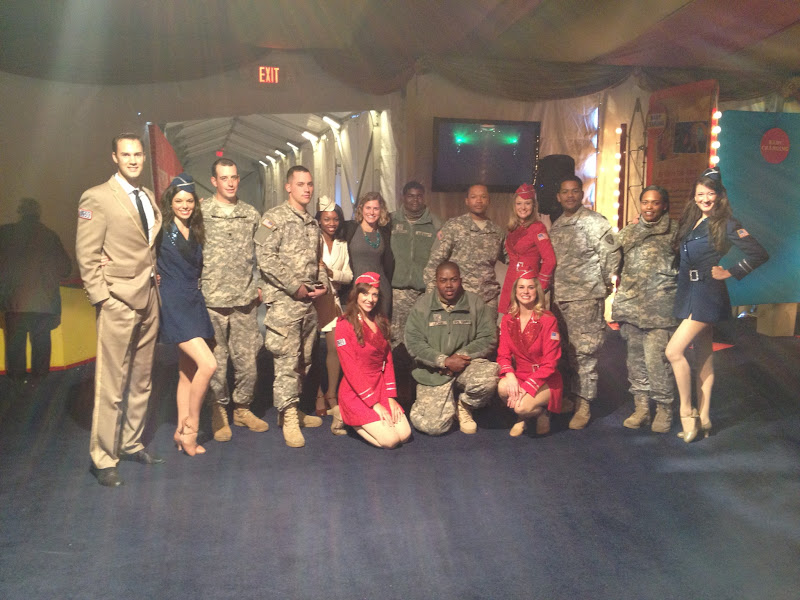 Photo: Members of the USO Liberty Bells show troupe joined veterans and active-duty military families for a special performance of the Big Apple Circus. (Big Thanks Under the Big Top! | November 14,2012)