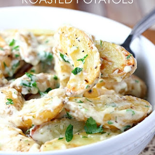 Creamy Herb Roasted Fingerling Potatoes.