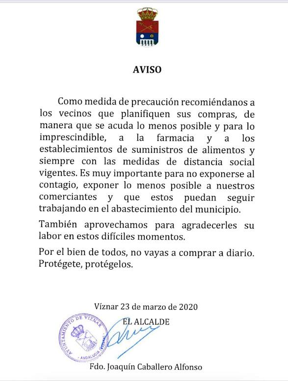 AvisoSobreElCoronaVirusViznar2020