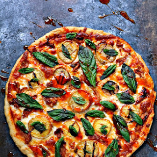 Grilled Peach and Chicken Pizza with Fresh Basil.