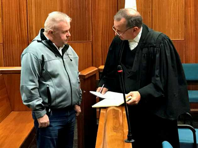 Morne Blignaut and his legal counsel advocate, Alwyn Griebenow, in the Port Elizabeth High Court