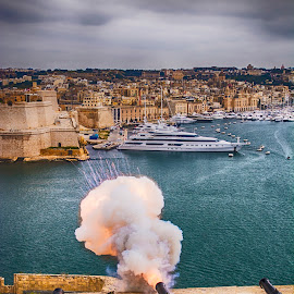 Cannon Fire at Grand Harbour, Valletta, Malta by Dave Williams - City,  Street & Park  Historic Districts ( cannon fire, malta, meditteranian, harbour, tatiana williams, sea, ships, grand harbour, military, cannon )