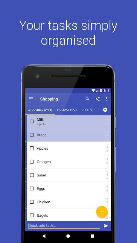 A screenshot of Tasks app