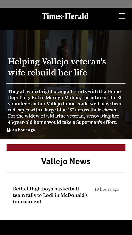 Vallejo Times Herald- screenshot