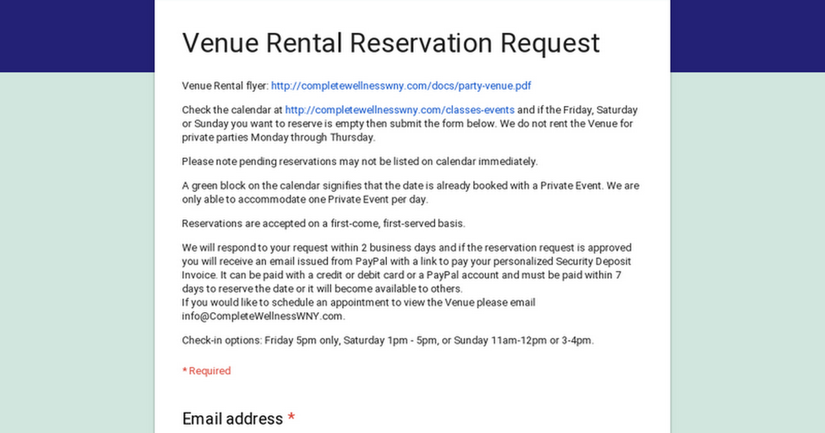 venue rental reservation request