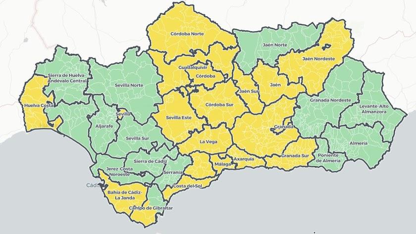 Mapa covid de la Junta de Andalucía.