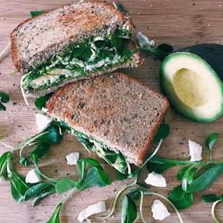 Green Pesto Sandwich with Goat Cheese & Avocado.