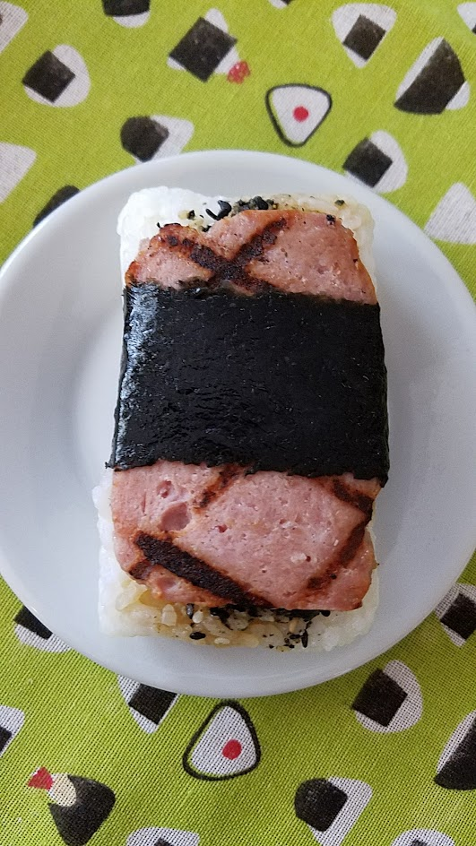Musubi in Portland, Artisanal Spam musubi, they make their own version of SPAM so instead of the can they use their own pork shoulder, uncured ham, salt and garlic and housemade teriyaki glaze.