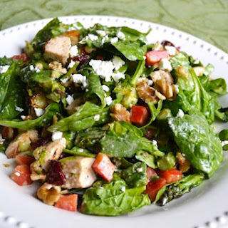 Spinach Salad with Vegetables and Goat Cheese