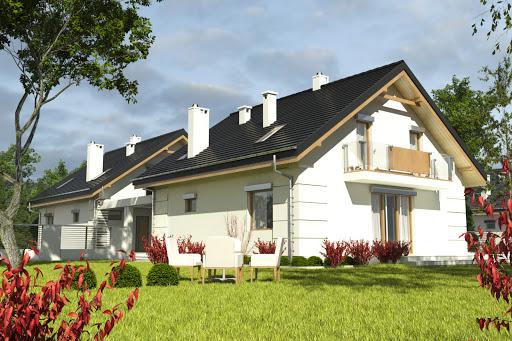 projekt Nowinka VI z garażem i wiatą bliźniak A1-BL1