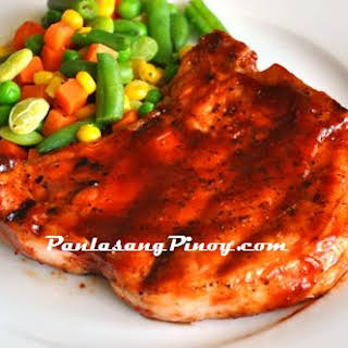 Barbecue Pork Chop with Mixed Veggies.