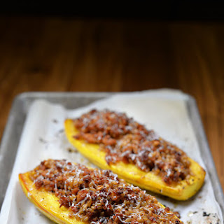 Roasted Delicata Squash Stuffed with Sausage and Farro