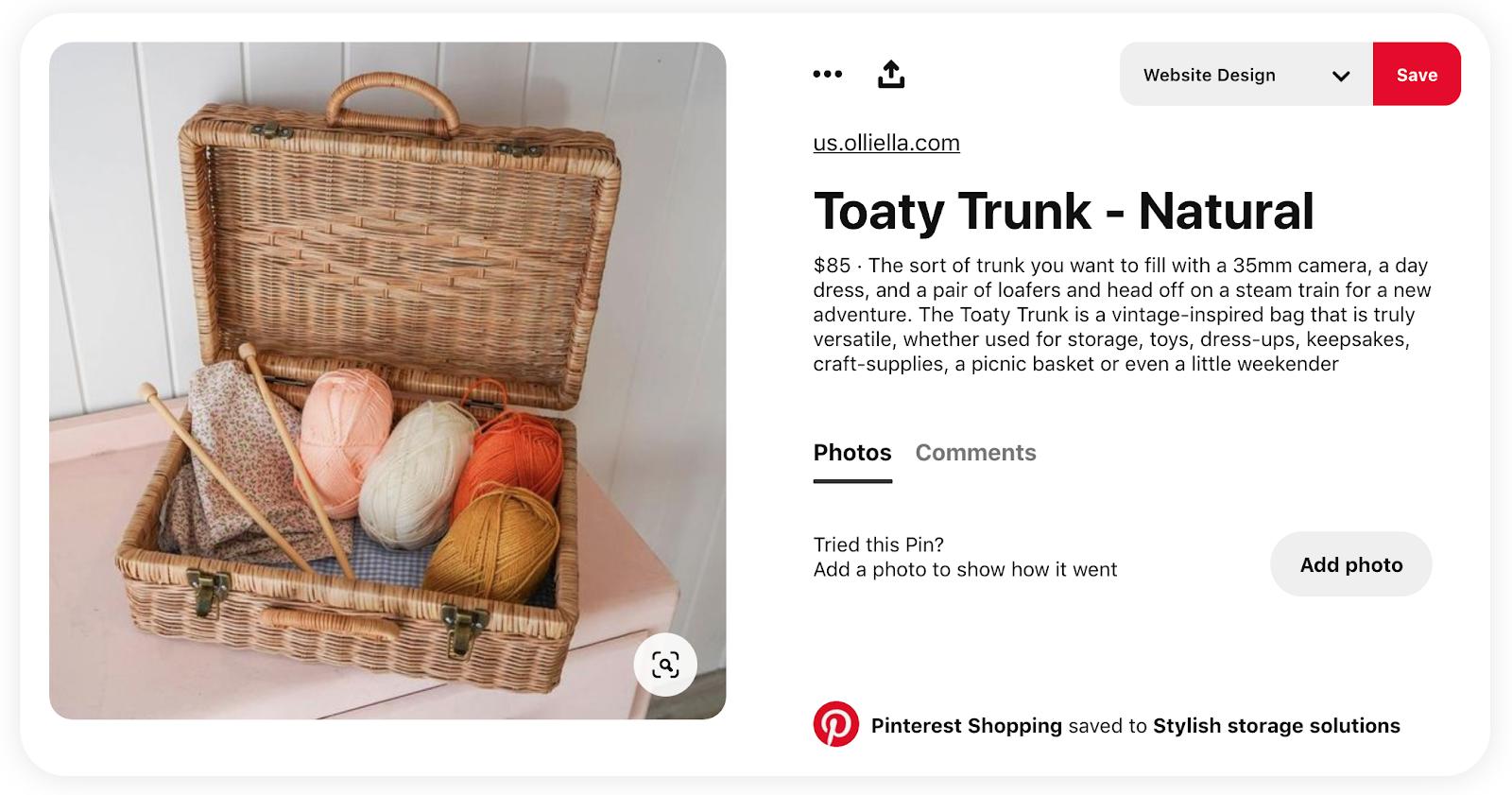 Ejemplo de producto en venta vía Pinterest