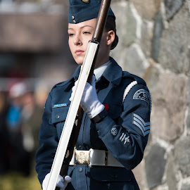Eyes Forward by Garry Dosa - People Portraits of Women ( standing, celebration, outdoors, remembrance day, ceremony, person, solemn, uniforms, female, people, rifle )