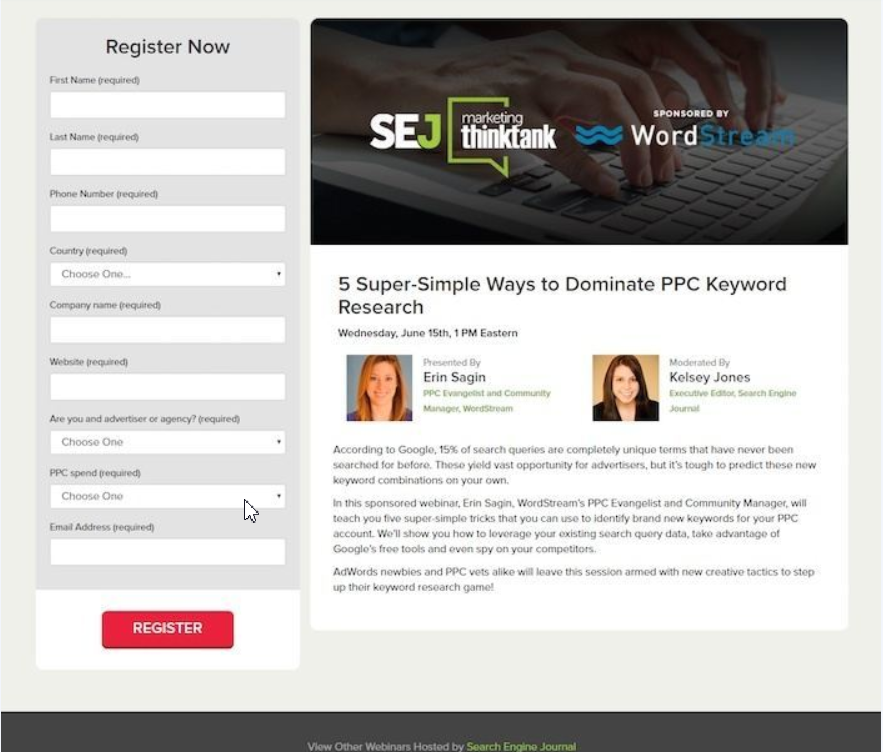 SEJ's webinar landing page increases brand trust by providing value to visitors
